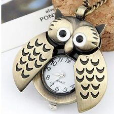 Owl Shape Pocket Watch Chain Necklace Pendant For Lady Womens Cute Bird Fashion