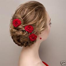 Rose Wedding Bridal Brides made Hair Pins Clips Headpiece Red Hair Accessories..