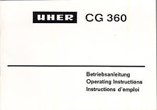 UHER OPERATING INSTRUCTIONS for a CG 360 CASSETTE RECORDER