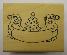 Penguins with Banner Rubber Stamp