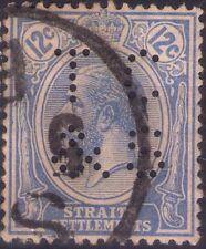 STRAITS SETTLEMENTS - GEORGE V° - RARO FRANCOBOLLO DA 12 C. - 1921 - PERFIN