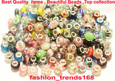 50pcs mixed 925 Sterling Silver Murano Glass Beads Charm fit European Bracelet
