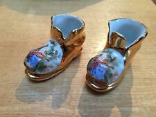 2 LIMOGES GOLD TRIMMED PORCELAIN SHOES