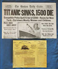 1912 Titanic Boston Daily Globe Newspaper  +  3rd Class Ticket - History Sinking