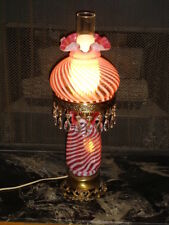 FENTON SWIRL OPALESCENT CRANBERRY GLASS GWTW LAMP