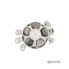 Genuine Pearl In Sterling Silver Mother Of Pearl 3-Strand Box Clasp #99239