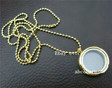 (new style) 5pcs gold plain 30mm floating lockets lot wholesale w/ ball chains
