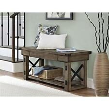 Altra Wildwood Rustic Grey Wood Veneer Entryway Bench Seat Furniture Foot Stool
