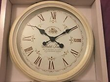 LARGE Distressed Cream/Gold Metal French Station Clock NEW Shabby Chic Kitchen