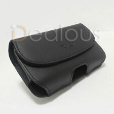 For HTC One M8 Black Leather Pouch Case Belt Clip Fit Otterbox/Heavyduty Case On