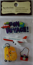 NEW 4 pc BON VOYAGE Airplane Jet Luggage Camera RECOLLECTIONS 3D Sticker