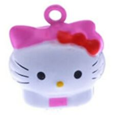 Hello Kitty Cat Shape Colorful Pink & White 21mm Jingle Bells 2pc