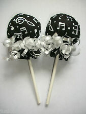 MUSIC NOTES PRINT BLACK WHITE SCRATCH MITTEN LOLLIPOPS  BABY SHOWER DIAPER CAKE