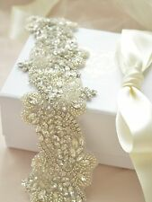 ROMANTICA BRIDAL SASH wedding belt Vintage Crystal Luxury Dress Rhinestone