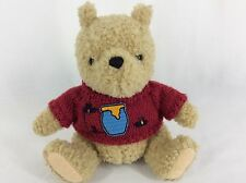 GUND Classic Pooh Plush Stuffed Animal Knitted Red Sweater With Honeypot