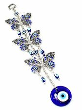 Blue Evil Eye 3 Butterflies Amulet Protection Wall Hanging Home Decor Gift