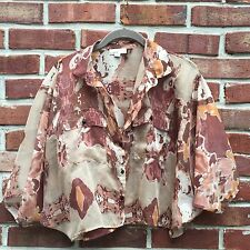 COVET Anthro Beige Camouflage Dolman Sleeve Button-Up Crop Blouse Shirt XS 2 *