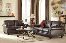 LUCA - TRADITIONAL BROWN GENUINE LEATHER SOFA COUCH SET LIVING ROOM FURNITURE