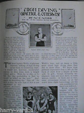 Ancient Olympic Games Olympics & High Diving W Webb Rare Antique Articles 1908