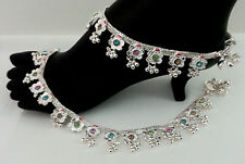 INDIAN BELLY DANCE JEWELRY SILVERPLATED ENAMEL BELLS ANKLET BRACELET PAYAL #193