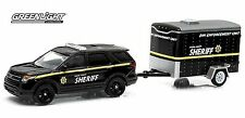 1:64 GreenLight *HITCH & TOW 3* Boone Sheriff Police Enterceptor w/Cargo Trailer