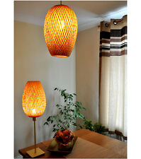 Handmade Rattan Lampshade, Pendant Or Table Shade, Pear Shape, Brown, L004L