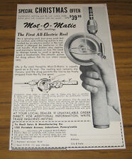 1956 Vintage Ad Mot-O-Matic First All-Electric Fishing Reel Fly or Spinning