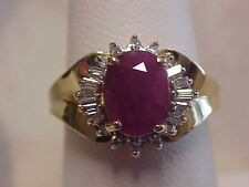 *ESTATE*2.00ct NATURAL RED RUBY & DIAMOND HALO COCKTAIL RING 14K YELLOW GOLD