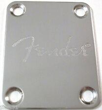 NECK PLATE FENDER - Fender logo - Chrome  pour guitare ou basse