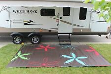 RV PATIO RUG INDOOR OUTDOOR CAMPING MAT COLORFUL PATTERN 9x12