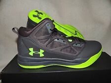NIB MENS UNDER ARMOUR JET MID BASKETBALL SNEAKERS~SHOES~SIZE 11~grey/lime green