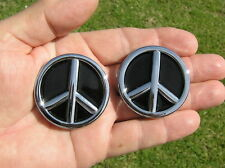 ~ PEACE SIGN PAIR CAR EMBLEMS Chrome Metal Badges *NEW & UNIQUE!* LOVE  B