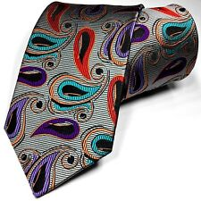SUPERIOR QUALITY New Tie 100% Silk Silver Black Purple Multi-color Lawrence Ivey