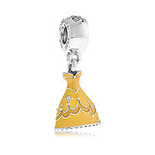 Genuine Pandora Disney Silver Belle's Dress Dangle Charm Frozen 791576ENMX