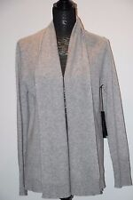 Tahari Pure Luxe 100% Cashmere Shawl Open Front Gray Cardigan sz L SuperSoft