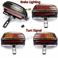 Smoke Tri-Bar Fender LED Tail Light With Turn Signal Bracket For Harley Softail