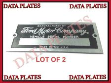 2x FORD MOTOR COMPANY ID TAG DATA PLATE SERIAL NUMBER CUSTOM HOT ROD RAT ROD