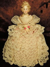 Antique HAND MADE German Porcelain Half Doll Pin Cushion Lace Satin Gown GORGEUS
