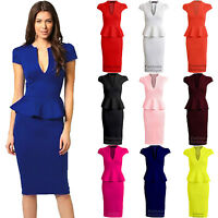 New Ladies Cap Sleeve V Neck Peplum Skirt Knee Length Women's Dress