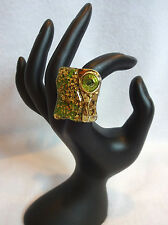 Green Swirl Gold Sparkle Faux Crystal Rhinestone Modern Art Deco Adjustable Ring
