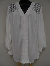 Plus Size 4X Top Soft STRETCH Shirt LACE FRONT & BACK  Blouse Crinkle Trendy NWT