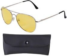 CHROME/YELLOW Aviator Sunglasses Air Force Style Polarized w/ Case - 58 MM 22209