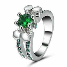 Size 6 Green Emerald Skull Ring Fashion 18KT White Gold Filled Jewelry Valentine