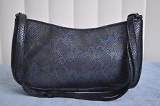 EXPRESS VINTAGE BLACK & BLUE REPTILE SNAKE SKIN MEDIUM BAGUETTE HANDBAG PURSE