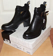 Bronx Women's, Black Leather Ankle Buckle Boots (style 33559-E) Brand New Boxed