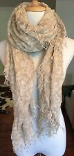 New AUTHENTIC Chan Luu Beige Cashmere Silk Print Scarf Shawl
