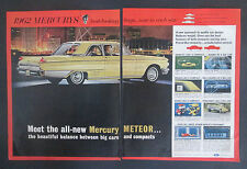 1961 4 Page 1962 Mercury Meteor Mid Size Print Ad With Win A Mercury Card Insert