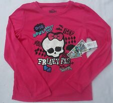"Monster High Girls Long Sleeve Hot Pink Top Shirt ""Freaky Fab"" Size 14 New NWT"
