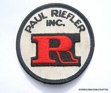 """PAUL RIEFLER EMBROIDERED SEW ON PATCH ADVERTISING UNIFORM HAT SHIRT 2 1/2"""""""
