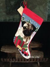 Fawn Pug Dog Needlepoint Christmas Stocking NWT